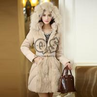2014 Luxury Style Women Winter Long Down & Parkas Thick Ladies elegant fur collar Outerwear Coat S-XL QCP07