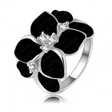 Exaggerated Design Platinum Plating Austrian Cystal SWA Element Black Flower Ring For Women Ri-HQ1006-B