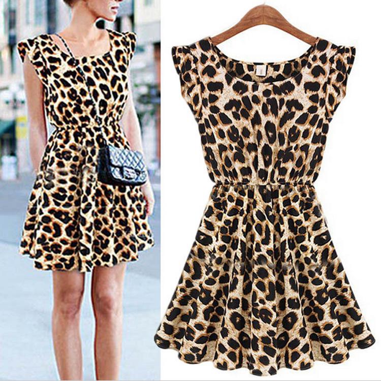 Fashion Womens Summer Casual Pleated Leopard Print Dress Sundress Crew Neck Cap Sleeve Mini Club Dresses Drop Shipping 551185(China (Mainland))