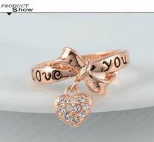 LZESHINE Brand Black Enamel Love You Ring Heart Bow 18K Rose Gold Plate Austrian Crystal SWA