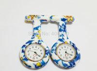 Flower Prints New Silicone Nurse Pocket Watch with pin 12 patterns Fashion Nurse Fob Watch Kids Gift Watch