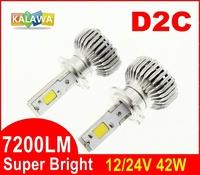 7200LM!!! D2S 42W 4th Generation Universal Auto car Led headlight fog lamp Double COB chip 360 degree 6000K FREESHIPPING GGG DSA