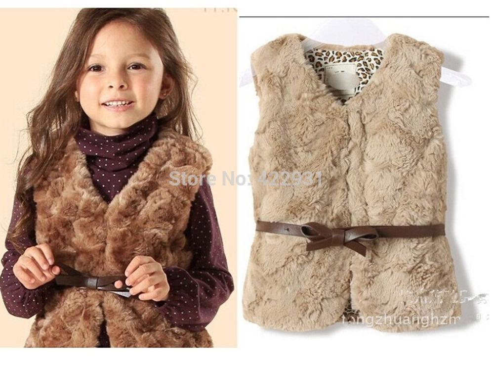 1-9yrs Brand children girls v-neck waistcoat design kids warm vest girl's jacket faux fur vest for girls with leather bow belt(China (Mainland))