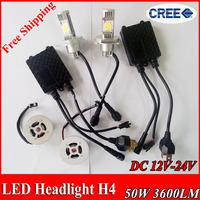 Free Shipping CREE 3600lm 50w H4 hi/lo LED car headlight white 6000K High Low beam 12V 24V car headLights