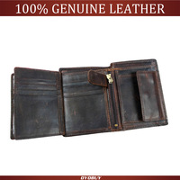 2014 vintage purse men wallets genuine leather wallets Cowhide Trifold Zipper men's wallet short vertical design purse