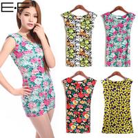 Free Shipping! 2014 Summer Women O-Neck Sleeveless Dresses Sexy  Party Flower Printed Nightclub Ladies Slim Evening Mini Dress