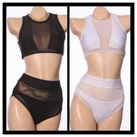 2014 Sexy hollow out high waist bikini Monokini White Color Mesh fabric Bikini vintage bikini pin up muslim swimsuit Swimwear