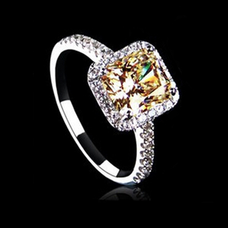 White Gold Engagement Ring with Yellow Gold Color Cubic Zirconia Fashion Brand Big Rings for Women Simulated Diamond Jewelry(China (Mainland))