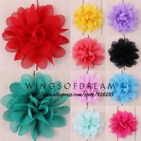 "(120pcs/lot)3"" 16 Colors Hot Sale Chiffon Silk Handmade Flowers For Children Soft Petal Peony Flower Accessories"