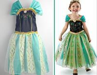 Retail Green Anna coronation dress frozen dress costume for children girls baby girls princess dresses cosplay clothes