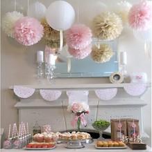 45pcs mixed size (10cm,15cm,20cm) Tissue paper pom poms artificial flowers balls birthday Wedding decoration kids party supplies(China (Mainland))