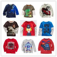 Hot 2014 Boys T-shirt Kids Tees Baby Boy tshirts Children tees Long Sleeve 100% Cotton Cars Fireman Top Quality Free Shipping