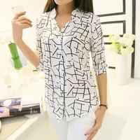 2014 summer ol slim shirt three quarter sleeve women's short-sleeve shirt 0103