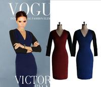 Victoria Beckham Dress Women Brand Vintage Contrast Color Long Sleeve Dress OL Office Sexy Bodycon Dress Summer Spring Autumn