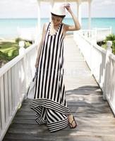 Free Shipping Hot Sexy Women casual Summer long print striped Maxi Evening Party Dress Beach Dresses Chiffon Dress B12 SV006075