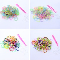 1200pcs bands 2 Hook 48 Clip Mix colorful Silicone Bracelet Crazy DIY Cheap Elastic  Rubber Loom Bands AE01076