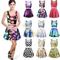 Wholesale Women's Girl's Sexy 2 pcs/Set Vest + Skirt Stylish Pattern Print Vest Tank Tops + Elastic Waist Skirt b6