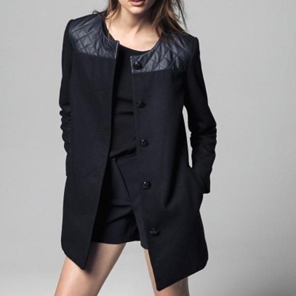 Free Shiping Fashion Winter Coat Women Faux Leather Woolen Patchwork Long Trench Coat Windcoat Winter PU Overcoat Free Shipping(China (Mainland))