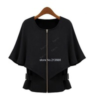 High Quality 2014 Women's Adjustable Waist Cape Zipper Jacket Wraps Half Sleeve Short Coat Tops Black, Khaki B12 SV006068