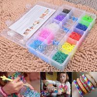 High Quality Hot Sale loom bands kit for kids DIY bracelets 2000pcs colorful rubber loom bands box set B16 SV006128