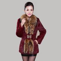full leather rabbit fur coat big plus size long-sleeved large raccoon fur collar outerwear coats 2014 women's winter clothing