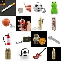 Wholesale Creative Refillable Cigarette Lighter Key Chain In Skull Gum Guitar Grenade Bullet Frog Wrench Shape Permanent Match