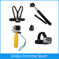 Monopod Tripod Mount Adapter + Float Bobber Handheld Stick + Chest Belt + Head Strap For ALL Gopro Hero 4 3 SJ4000 Accessories