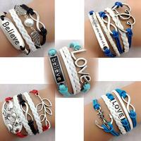 2014 New Wholesale 50Pcs  DIY trendy antique silver hand-woven bracelets rudder wristband wristlet Free Shopping