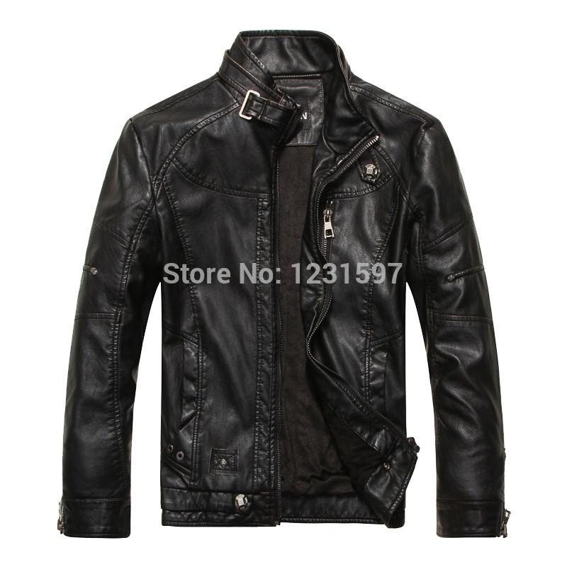 2014 new autumn winter leather jacket men jaqueta couro masculino stand collar slim short coat motorcycle leather bomber jacket(China (Mainland))