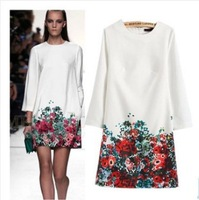 New 2014 Autumn Dress Women Fashion Flower Print Dress Elegant Long Sleeve White Chiffon Party Dress Plus Size Women Vestidos