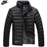 NIKE 2014 mens winter jacket men's hooded wadded coat winter thickening outerwear male slim casual cotton-padded outwear