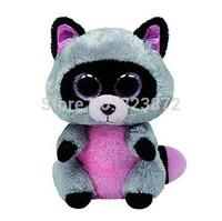 New TY Beanie Boos Rocco Grey Raccoon Plush Toys 15cm TY Big Eyes Plush Animals Brinquedos Kids Toys for Children