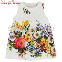 Hot Sale 2014 high end children princess dress, new babi girl print dress brand kids floral dress, girls party dresses, 2-8Y