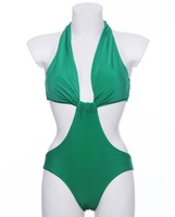 New 2014 Summer Sexy Swimwear Halter Free Bust Monokini One Pieces Vintage Swimsuit For Beach S M L Green Women's Beach Wear