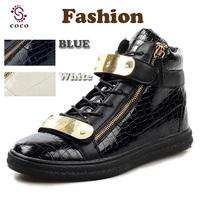 2014 new Brand Fashion Design men Sneakers Metal PU leather Rubber men's Casual shoes flat shoes Lace-up zipper men shoes