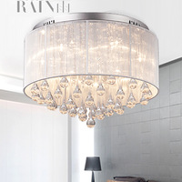 Free shipping Fashion Fabric Crystal Garden Restaurant bedroom modern minimalist living room Ceiling lights M1010-B study