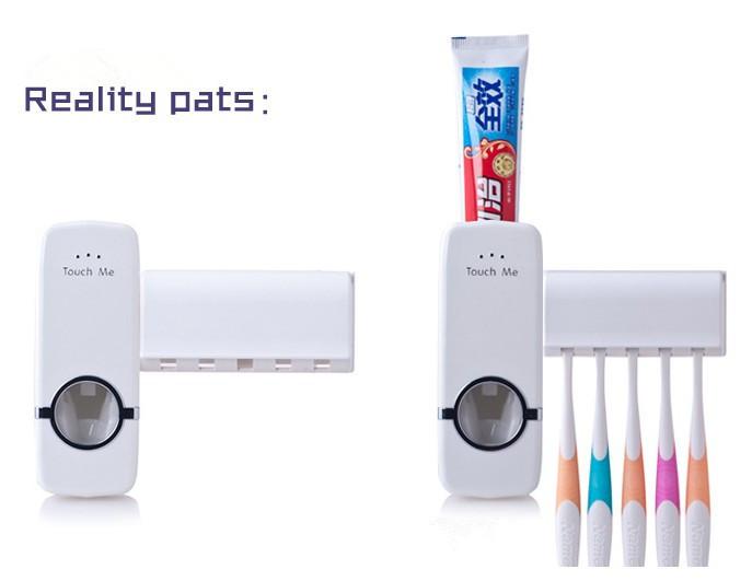 Distributore automatico di dentifricio spazzolino da denti titolare set, spazzolino da denti famiglia set bianco