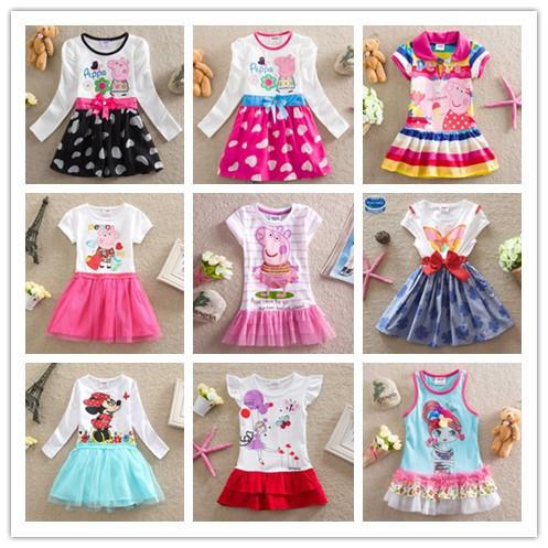 Frozen princess elsa anna baby girl long sleeve dress Peppa Pig Nova brand children cartoon kids clothes party tutu cotton(China (Mainland))