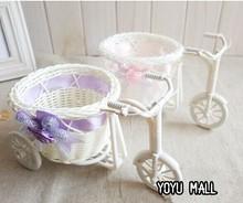 Plastic White Tricycle Bike Design Flower Basket Storage Party Decoration wedding decoration free shopping(China (Mainland))