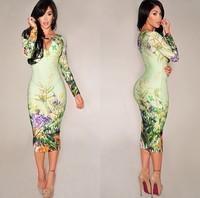 2014 New Vestidos Women Long Sleeve Autumn Dress Vintage Floral Print Dress Sexy Party Dresses Bodycon Midi Pencil Dress DZ007