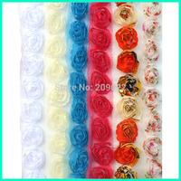 Single Line Solid Color Shabby Chiffon Flower,20MM Width Trim, Rose Flower Chic Crochet Flower Lace Trim