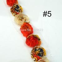 Print Color Shabby Chiffon Rose Flower Trim, 10yards/ lot 20MM Width Single Line Chiffon Trim,Chic Crochet Flower Lace