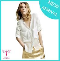 2014 autumn Temperament Casual Shirt Women Long Sleeve Chiffon Blouse White Black XY-069