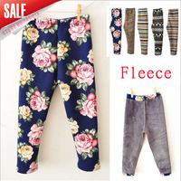 2014 winter new arrival 3pcs/lot korea design girls warm fleece flower leopard zebra printed pants elastic waist legging