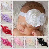 Silk Flower Baby Headband Pearl Rhinestone Center Newborn Headband Toddler Headbands tiaras for girls
