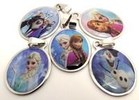 10pcs Frozen Elsa/Anna/Olaf/Kristoff/Sven Violetta Stainless Steel Pendant Children's birthday party Jewelry Lots