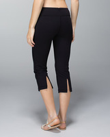 Supplex fitness wear women yoga crops, loose style hot selling  solid black cheap yoga pants