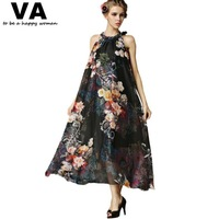 women long dress plus size maxi casual chiffon black Floral Printed turtlneck sleeveless dresses 5xl 4xl xxxl 2015 P00064