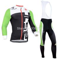 2014 New autumn Winter Fleece cycling jersey/ cycling clothing men women Long Sleeve+Bib Pants Bike Clothes Breathable