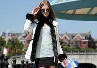 2014 new fashion Korean Slim thin long section raccoon Nagymaros collar down jacket women NDZ121 Y9W